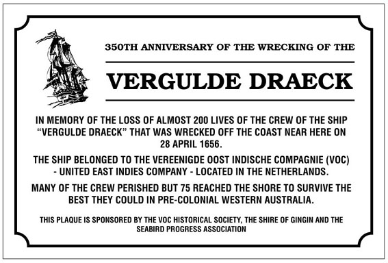 Placque commerating the VOC shipwreck in